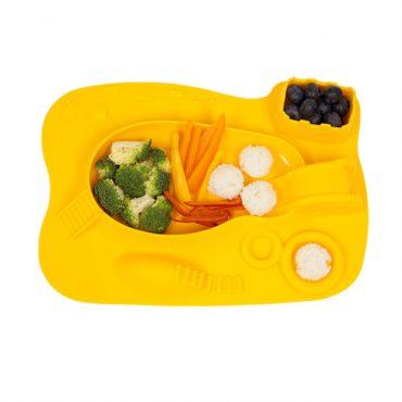 Παιδικό Πιάτο σιλικόνης με δραστηριότητες amusemat Marcus & Marcus Κίτρινος Ασφαλές με δραστηριότητες αντιολισθητικό