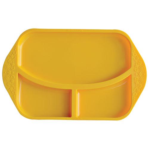 Παιδικό Πιάτο divided φαγητού σιλικόνης με χωρίσματα Marcus & Marcus Κίτρινος Ασφαλές, εύκαμπτο, αντιολισθητικό