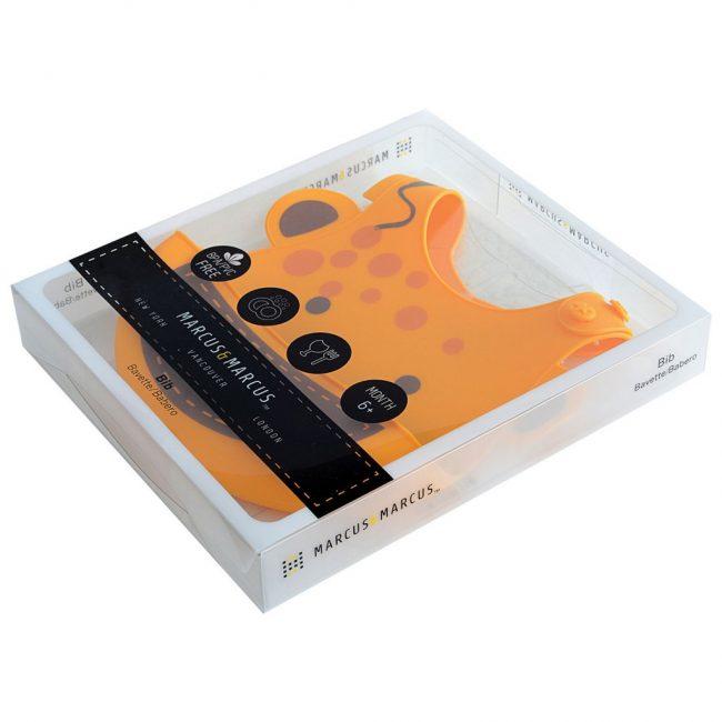 Σαλιάρα σιλικόνης με χούφτα ψίχουλων Καμηλοπάρδαλη Marcus & Marcus Τυλίγεται σε ρολό