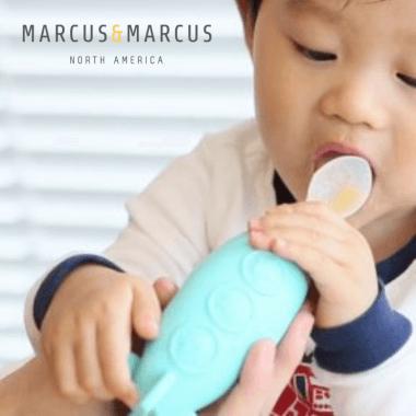 Κουτάλι βρεφικός δοσομετρητής ρυθμιζόμενης ροής σιλικόνης Γαλάζιο Marcus & Marcus dispenser Εύκολο τάισμα χωρίς πιτσιλιές
