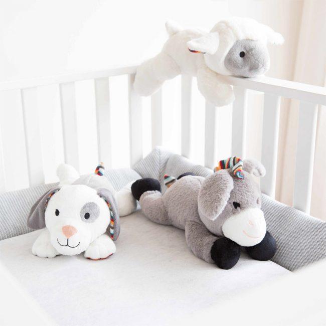 Ζωάκια ύπνου με χτύπο της καρδιάς & λευκούς ήχους ZAZU Πλενόμενος βοηθός συντροφιάς για τον ύπνο των μωρών με ακουστικό αισθητήρα για το κλάμα