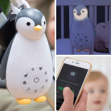 ZOE Πιγκουίνος, Ζωάκια ύπνου Ηχείο Bluetooth, φως, χτύπο καρδιάς, λευκοί ήχοι ZAZU grey