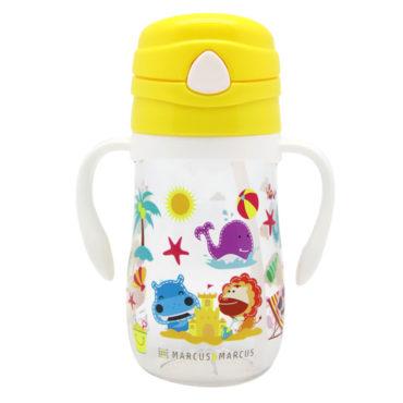 Μπουκάλι Tritan με Καλαμάκι Σιλικόνης Χερούλια Εκμάθησης Marcus and Marcus Κίτρινο