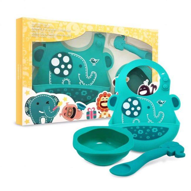 Σετάκι δώρου ζωάκια σιλικόνης με Σαλιάρα χούφτα , παιδικό μπολ φαγητού και βρεφικό κουτάλι