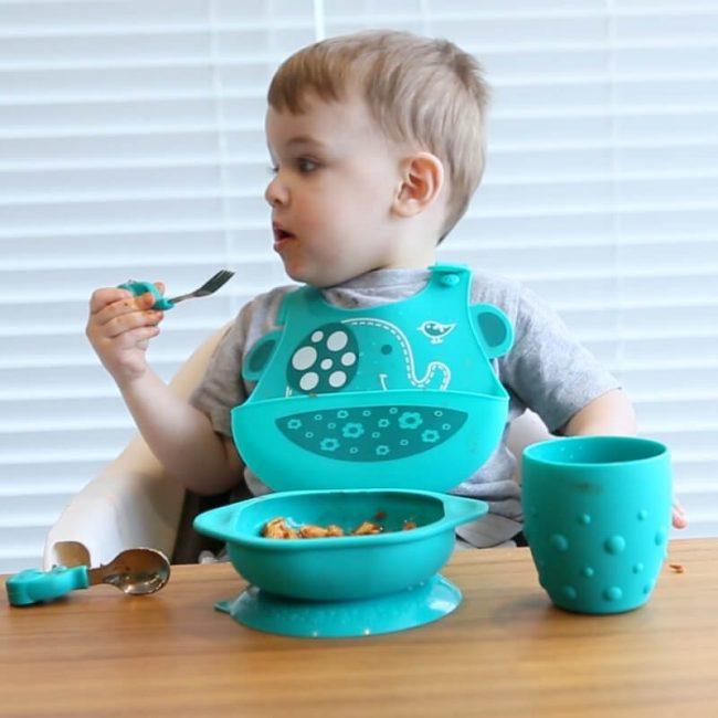 Σετ φαγητού βρεφικό σιλικόνης πιάτο & κουτάλι πηρούνι Toddler Ελεφαντάκι Marcus & Marcus