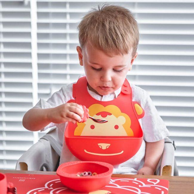 Σετ φαγητού σιλικόνης βρεφικό πιάτο & κουτάλι πηρούνι Toddler Λιονταράκι Marcus & Marcus