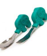 Βρεφικό Κουτάλι & Πιρούνι σετ σιλικόνης κοντές λαβές Ελεφαντάκι Marcus & Marcus palm spoon fork