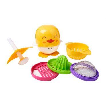 Πολυ-εργαλείο προετοιμασίας βρεφικών τροφών σετ 7 χρήσεις σε 1, BERZ 0m+ παπάκι Μέ τρίφτη, στίφτη, σουρωτήρι, φίλτρο-σουρωτήρι, γουδί, γουδοχέρι, πολτοποιητή