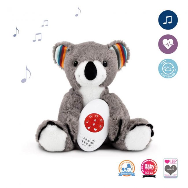 zazu μαλακά κουκλάκια κοάλα zazu με συσκευές που αναπαράγουν το χτύπο της καρδιάς της μητέρας, (όπως ακούγεται σε ένα υπερηχογράφημα), λευκούς ήχους (οικείους στο μωρό μέσα απο τη μήτρα) και μελωδίες.