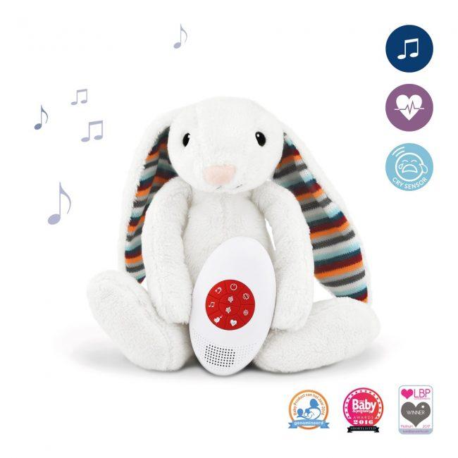Λαγουδάκι BIBI Ζωάκια ύπνου με χτύπο καρδιάς & λευκούς ήχους ZAZU Πλενόμενος βοηθός συντροφιάς 2