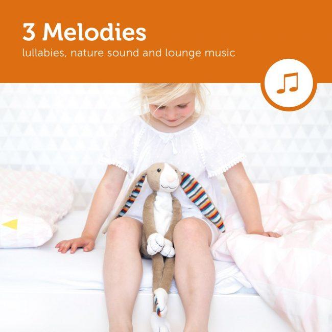 Bo Κουνελάκι με φωτάκι νυκτός Ζωάκια ύπνου με μελωδίες & λευκό ήχο φύσης ΖAZU 5