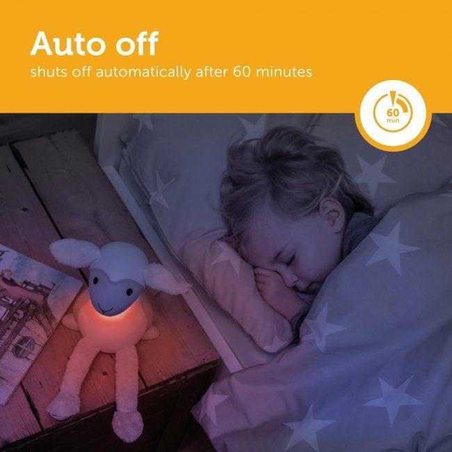 Fin Προβατάκι παιδικό φώς νυκτός & ανάγνωσης LED, ρύθμιση νυκτός με USB ZAZU λούτρινο