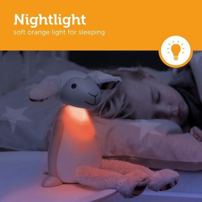 Fin Προβατάκι παιδικό φώς νυκτός & ανάγνωσης LED, ρύθμιση νυκτός με USB ZAZU πορτοκαλί