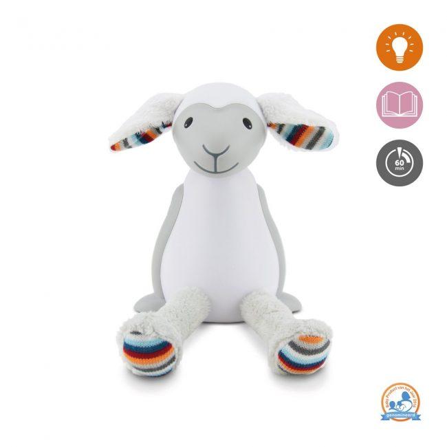 Fin Προβατάκι παιδικό φώς νυκτός & ανάγνωσης LED, ρύθμιση νυκτός με USB ZAZU grey