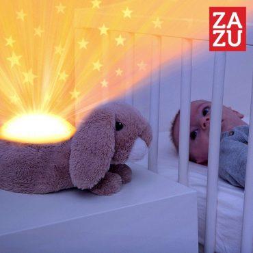Λαγός Ruby πλενόμενος Προτζέκτορας με χτύπο καρδιάς, λευκό ήχο, μελωδία ZAZU Συσκευή προβολής αστεριών