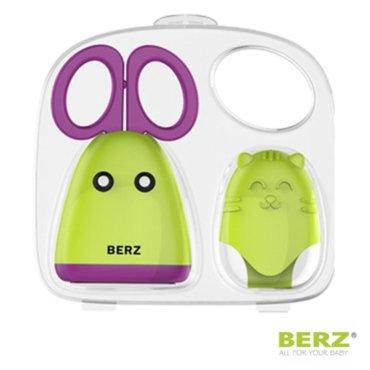 Ψαλιδάκι Kοπής Βρεφικών Τροφών με Γάντι Σιλικόνης Πράσινο Μωβ Berz
