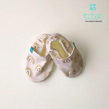 Βρεφικά Παπούτσια Αγκαλιάς Crawl Ουράνιο τόξο Μπέζ baby run Χειροποίητα 18-24 Mηνών   TiTot Νο 22