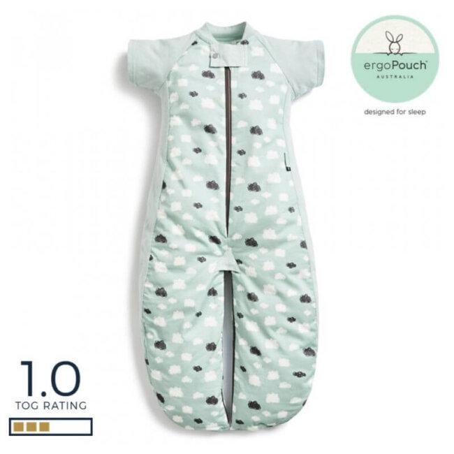 Βρεφικός Υπνόσακος ergoPouch Cocoon Mint Clouds 2 in 1 Sleep Suit για βρέφη 8-24 μηνών 1.0 TOG
