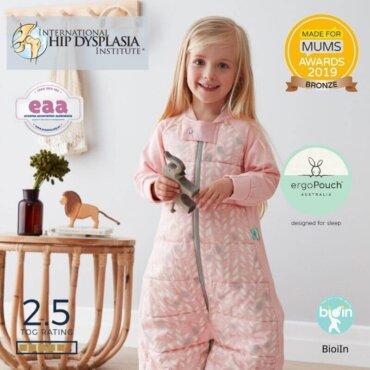 Παιδικός Υπνόσακος ergoPouch Cocoon Spring Leaves 2 in 1 Sleep Suit για παιδιά 4-6 ετών 2.5 TOG με Μανίκια