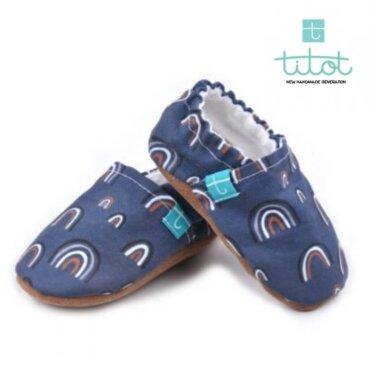 Βρεφικά Παπούτσια Αγκαλιάς Crawl Τόξο Μπλε baby run Χειροποίητα 24-36 Mηνών | TiTot Νο 24