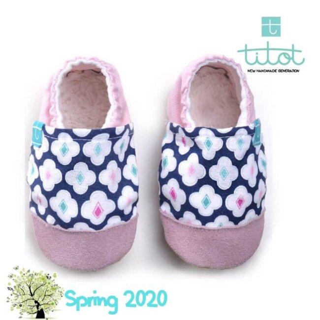 Βρεφικά Παπούτσια Αγκαλιάς Μπλε Κουρακάο baby run Χειροποίητα Βαμβακερό 24-36 Mηνών   TiTot Νο 24