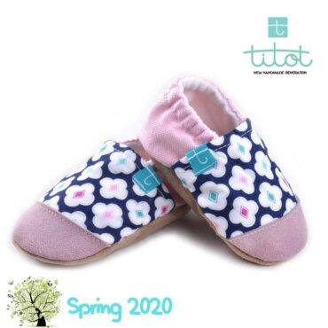 Βρεφικά Παπούτσια Αγκαλιάς Μπλε Κουρακάο baby run Χειροποίητα Βαμβακερό 24-36 Mηνών | TiTot Νο 24