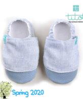 Βρεφικά Παπούτσια Αγκαλιάς Linen Θάλασσα Chambray baby run Χειροποίητα 18-24 Mηνών   TiTot Νο 22