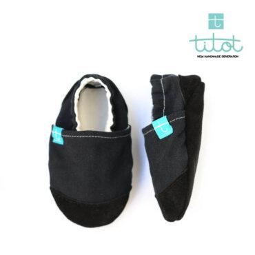 Βρεφικά Παπούτσια Αγκαλιάς Μαύρο Linen Glee baby run Χειροποίητα Βαμβακερό 12-18 Mηνών | TiTot Νο 20