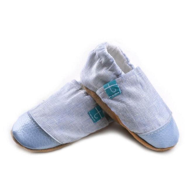 Βρεφικά Παπούτσια Αγκαλιάς Linen Θάλασσα Chambray baby run Χειροποίητα 18-24 Mηνών | TiTot Νο 22