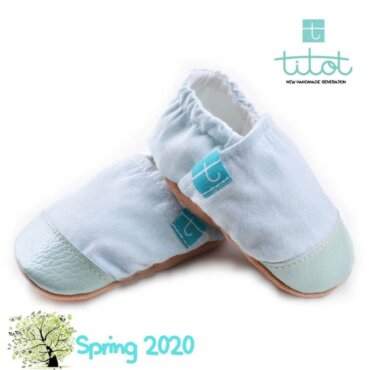 Βρεφικά Παπούτσια Αγκαλιάς Linen Μέντα chambray baby run Χειροποίητα 12-18 Mηνών   TiTot Νο 20