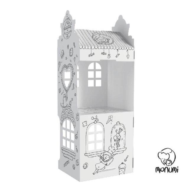 Σπιτάκι XL Καραμελίτσες Διώροφο Sweet Street MoNumi από 3D Λευκό χαρτόνι Ζωγραφικής Χάρτινες Κατασκευές – Baby Run