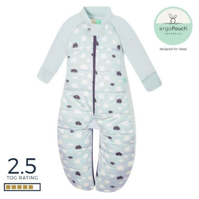 Παιδικός Υπνόσακος ergoPouch Cocoon Mint Clouds 2 in 1 Sleep Suit για παιδιά 4-6 ετών 2.5 TOG με Μανίκια