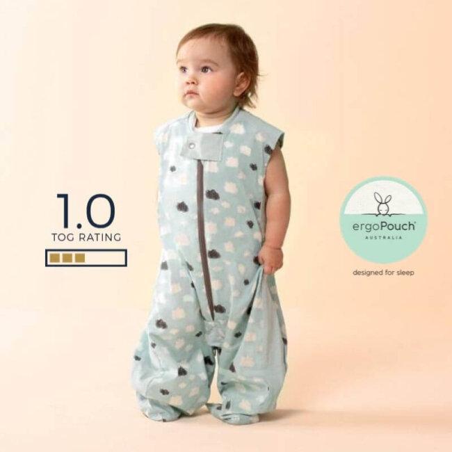Παιδικός Υπνόσακος ergoPouch Cocoon Mint Clouds 2 in 1 Sleep Suit για παιδιά 2-4 ετών 1.0 TOG