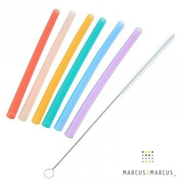 Καλαμάκια Σιλικόνης Πολλαπλών χρήσεων 6τμχ με βουρτσάκι καθαρισμού marcus & marcus