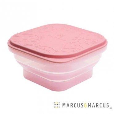Ροζ Βρεφικό Μπολ Πτυσσόμενο με καπάκι Φαγητοδοχείο σιλικόνης Marcus & Marcus