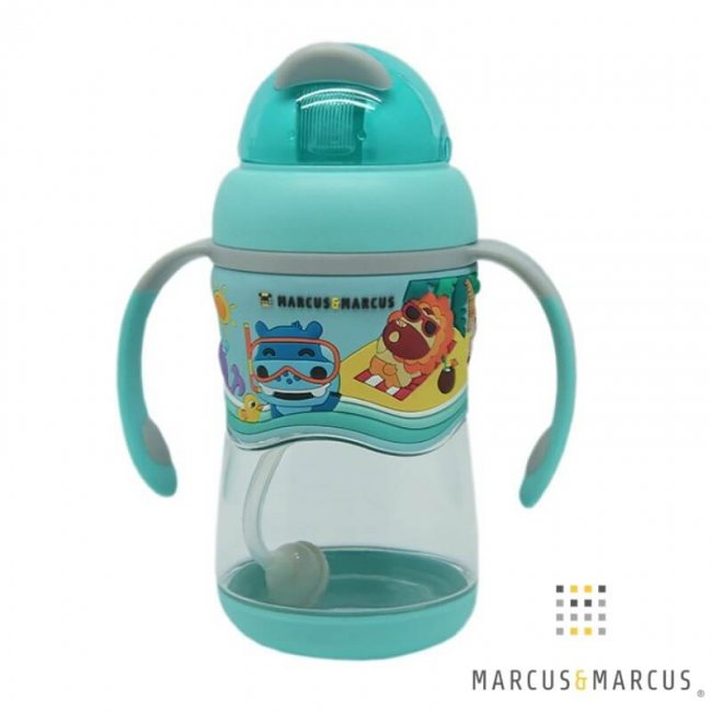 Μπλέ Παιδικό Μπουκάλι 2 Stage Sippy Cup Καλαμάκι Σιλικόνης Βαρίδι Tritan marcus & marcus