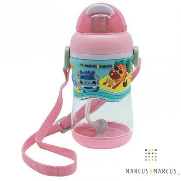 Ρόζ Παιδικό Μπουκάλι 2 Stage Sippy Cup Καλαμάκι Σιλικόνης Βαρίδι Tritan marcus & marcus