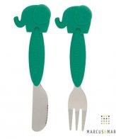 Πράσινο Εκπαιδευτικό Σετ Κουτάλι Πιρούνι Ανοξείδωτο με βάση Σιλικόνης Ελεφαντάκι Marcus & Marcus