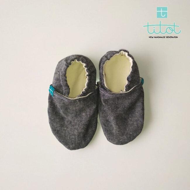 Βρεφικά Παπούτσια Αγκαλιάς Μαύρο Chambray baby run Χειροποίητα Βαμβακερό 24-36 Mηνών   TiTot Νο 24