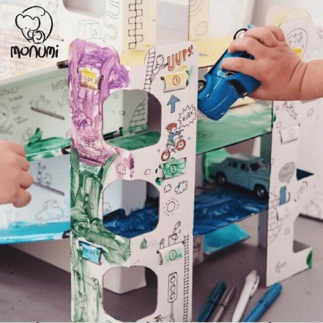 Παρκινγκ Garage MoNumi XL Car Park από 3D Λευκό χαρτόνι Ζωγραφικής Χάρτινες Κατασκευές – BabyRun