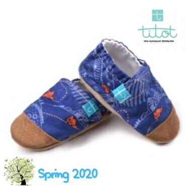 Βρεφικά Παπούτσια Αγκαλιάς Πορτοκαλί Έκτορας Μπουλντόζα baby run Χειροποίητα Βαμβακερό 24-36 Mηνών | TiTot Νο 24