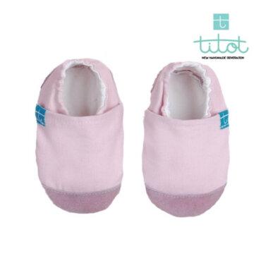 Βρεφικά Παπούτσια Αγκαλιάς Φυσικό Ρόζ Linen Βaby run Χειροποίητα Βαμβακερό 9-16 Mηνών   TiTot Νο 18