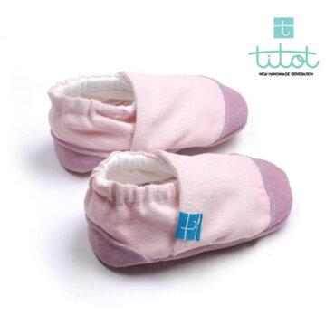 Βρεφικά Παπούτσια Αγκαλιάς Φυσικό Ρόζ Linen Βaby run Χειροποίητα Βαμβακερό 9-16 Mηνών | TiTot Νο 18