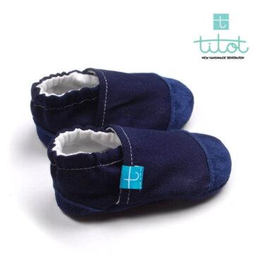 Βρεφικά Παπούτσια Αγκαλιάς Linen Blackberry baby run Χειροποίητα 18-24 Mηνών | TiTot Νο 22
