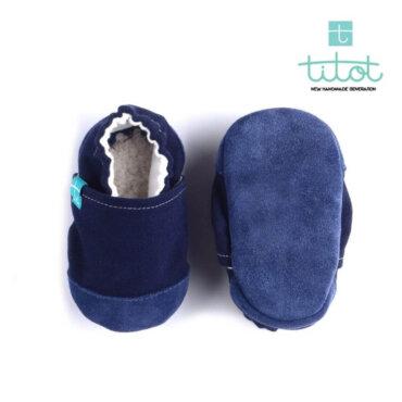 Βρεφικά Παπούτσια Αγκαλιάς Linen Blackberry baby run Χειροποίητα 18-24 Mηνών   TiTot Νο 22