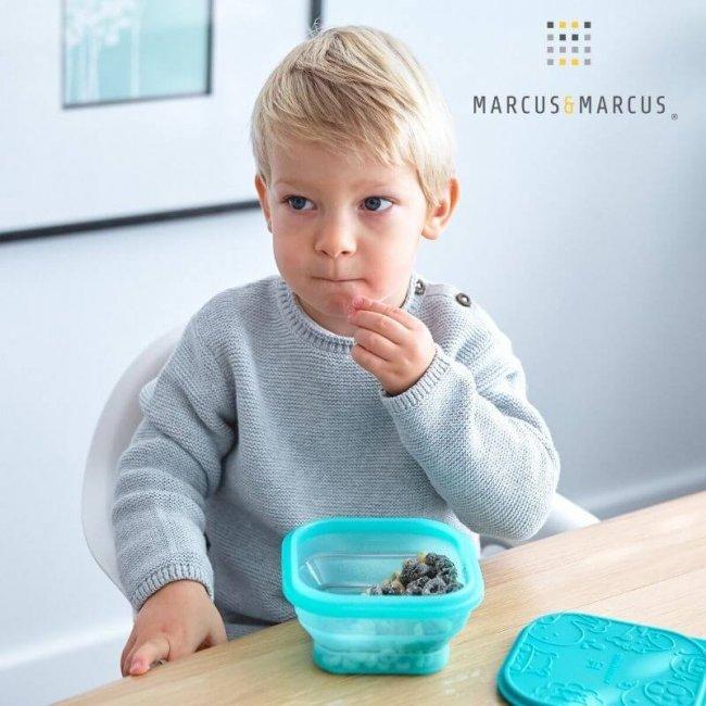 Μπλέ Βρεφικό Μπολ Πτυσσόμενο με καπάκι Φαγητοδοχείο σιλικόνης Marcus & Marcus