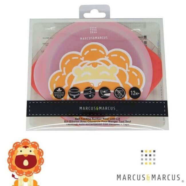 Μπολ σιλικόνης με καπάκι αντιολισθητική βεντούζα Marcus & Marcus Λιονταράκι Suction Lid