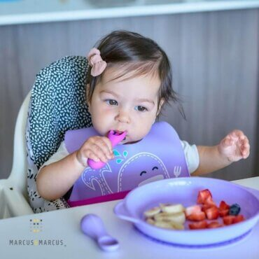 Πιρούνι & Κουτάλι Σιλικόνης Φαλαινίτσα Εκπαιδευτικά Palm Grasp Feeding Self 12m+ MNMBB41WL